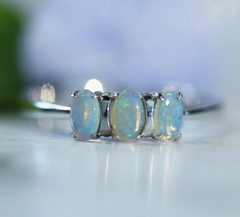 Cute  Crystal   opals in stylish silver ring  SU 1504