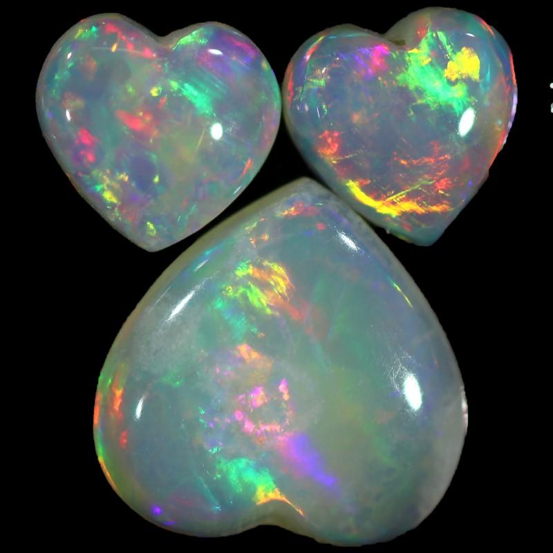 1.33 CTS WHITE OPAL HEART SHAPE SET 3 STONES [C234]safe