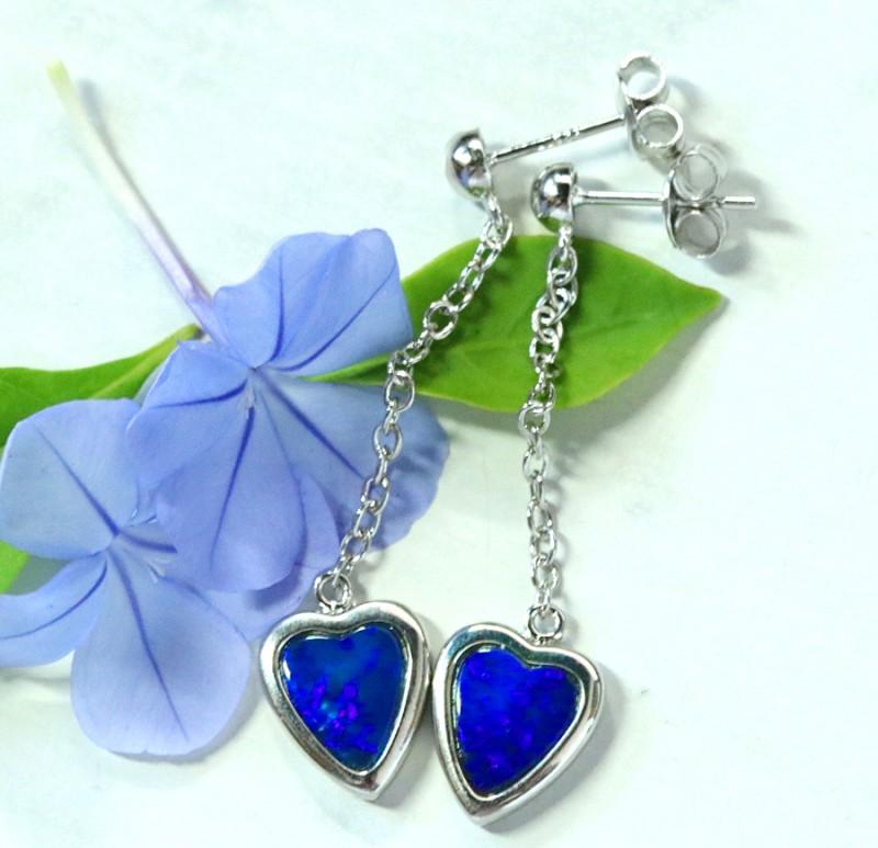 Blue fire opal doublet swing  silver earrings   SU 1510