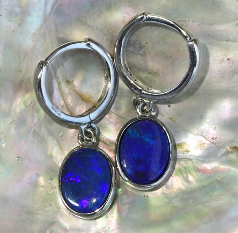 Blue fire opal doublet clip silver  earrings   SU 1512