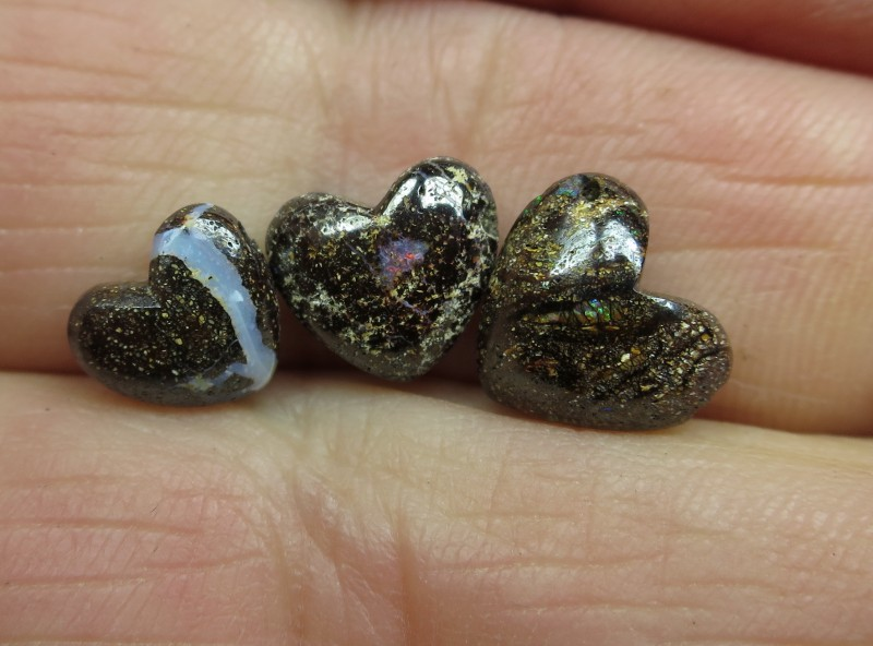 """7.5cts, """"3 X BOULDER OPALS~DRILLED HEART SHAPE STONES"""""""
