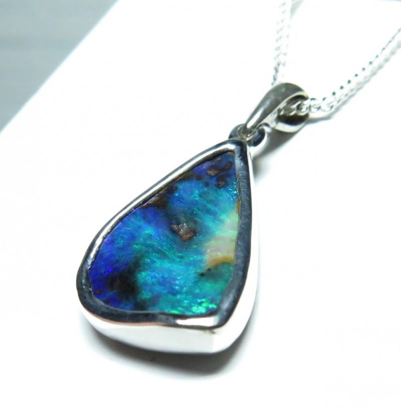 Australian Opal Freeform Hand Made Silver Pendant