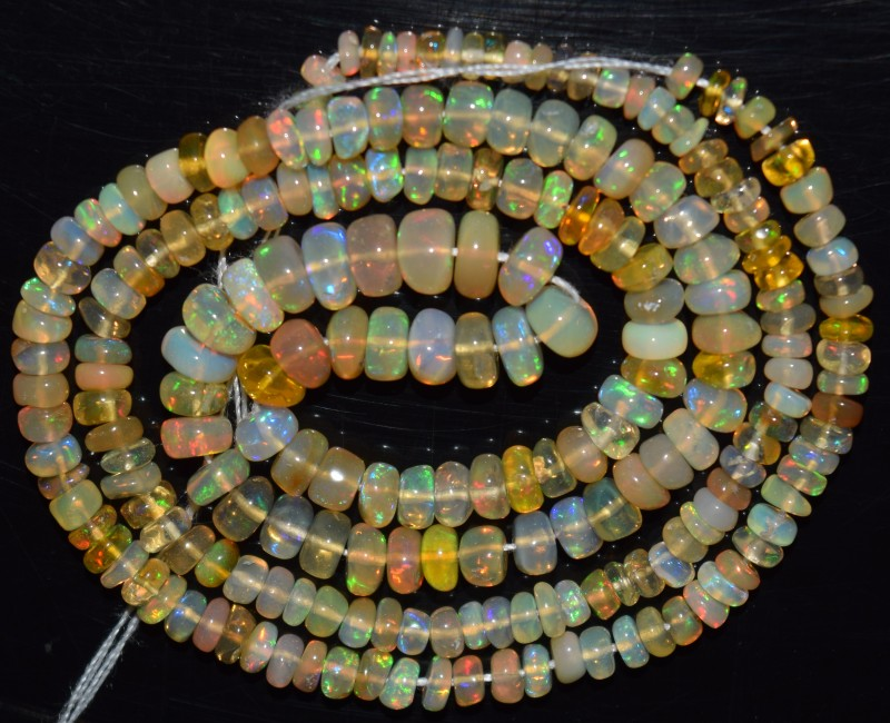 34.25 Ct Natural Ethiopian Welo Opal Beads Play Of Color