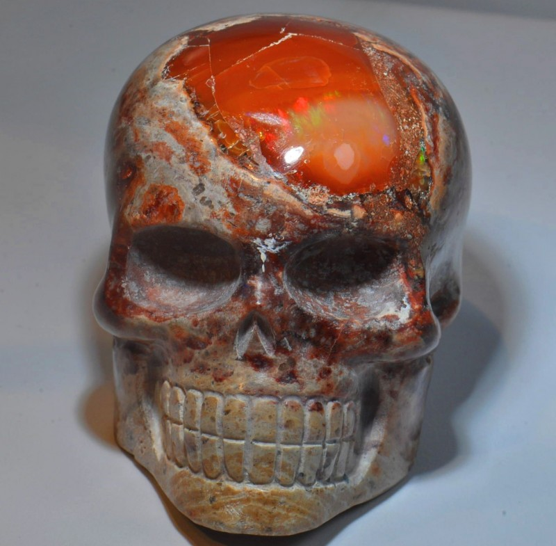 1500CT Skull Stone Carved Mexican Matrix Opal