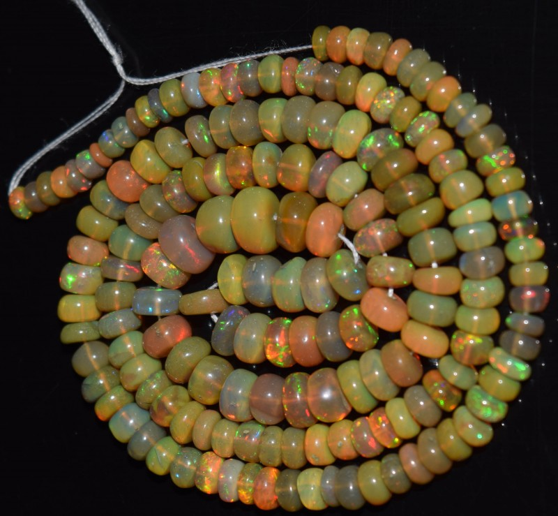 51.90 Ct Natural Ethiopian Welo Opal Beads Play Of Color OA14