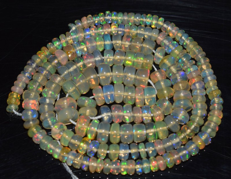 37.20 Ct Natural Ethiopian Welo Opal Beads Play Of Color OA42