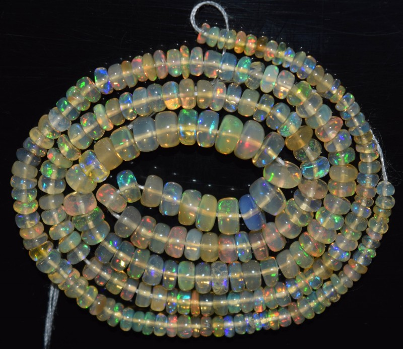 35.60 Ct Natural Ethiopian Welo Opal Beads Play Of Color OA49