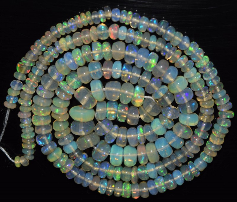 37.35 Ct Natural Ethiopian Welo Opal Beads Play Of Color OA66