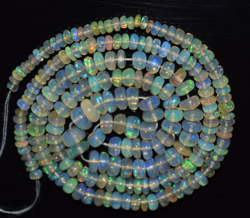 37.20 Ct Natural Ethiopian Welo Opal Beads Play Of Color OA105