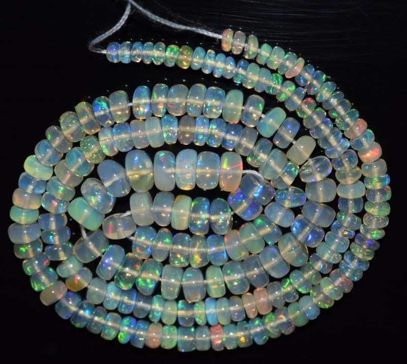 42.75 Ct Natural Ethiopian Welo Opal Beads Play Of Color OA107
