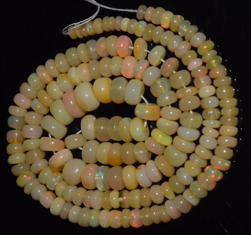 53.55 Ct Natural Ethiopian Welo Opal Beads Play Of Color OA168
