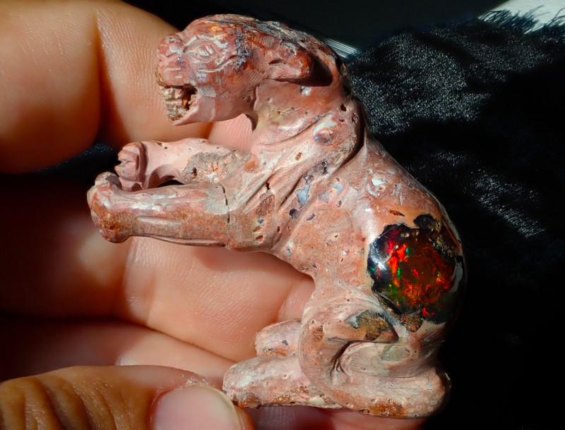$1 NR Auction Jaguar Mexican Cantera Figurine Fire Opal