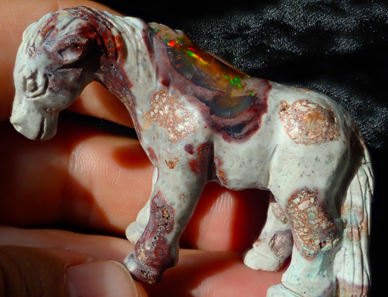 $1 NR Auction Horse Mexican Cantera Figurine Fire Opal