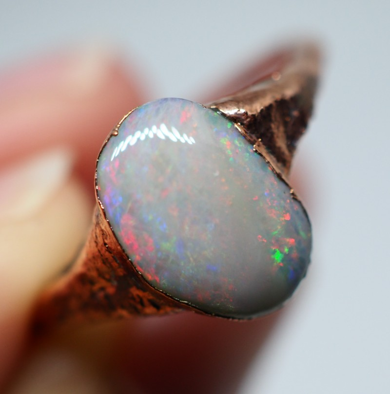 9.05CT OPAL RING WITH ELECTRIC FORM COPPER  OI499