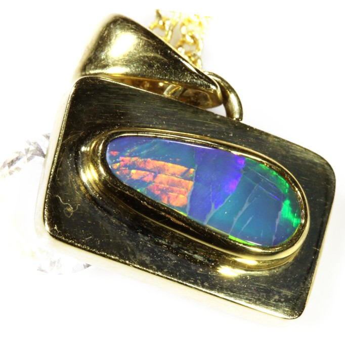 ROLLING FIRE BLACK OPAL 18K GOLD PENDANT 1.90 CTS SCA1390