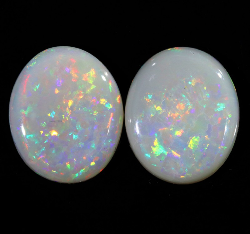 5.37CTS COOBER PEDY OPAL PAIR GREAT COLOUR PLAY  S449