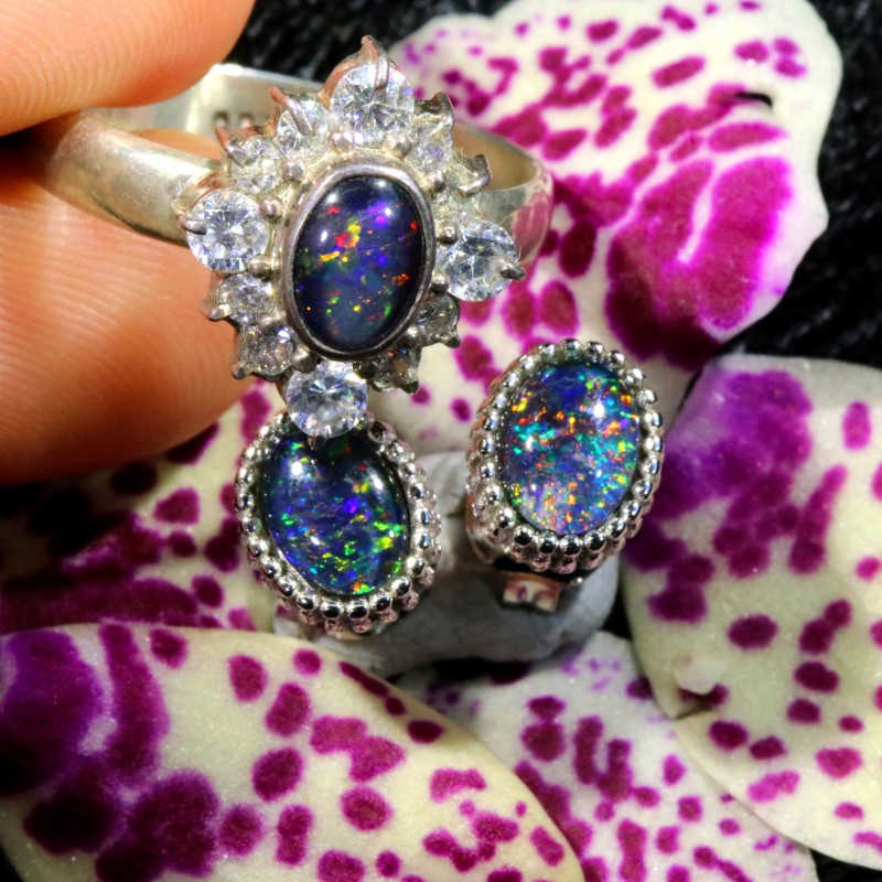 27.45 CTS OPAL TRIPLET SILVER JEWELRY SET-RING AND EARRINGS [SOJ6403]