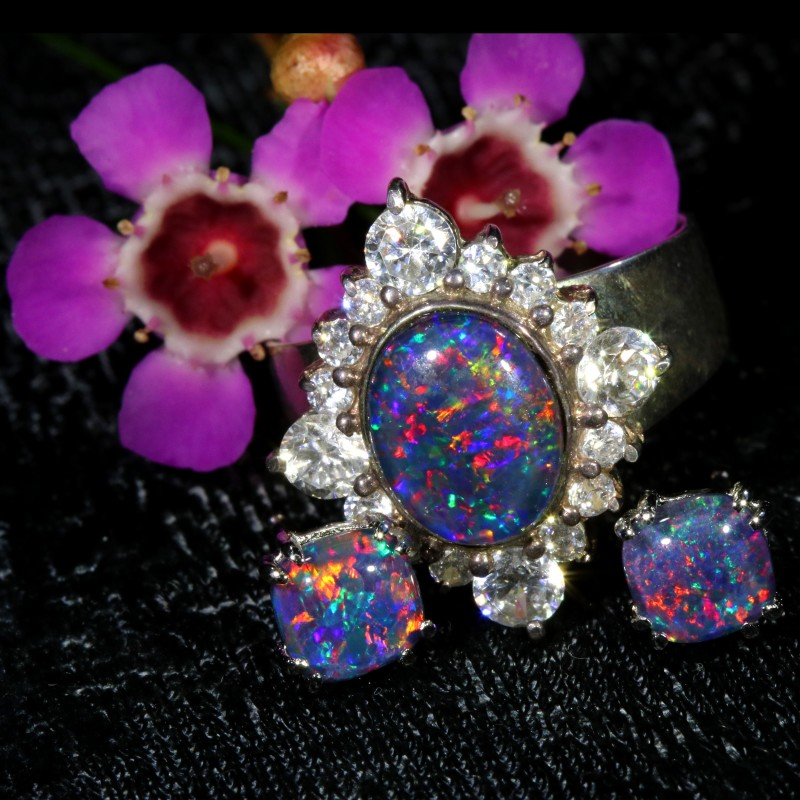 40.45 CTS OPAL TRIPLET SILVER JEWELRY SET-RING AND EARRINGS[SOJ6411]