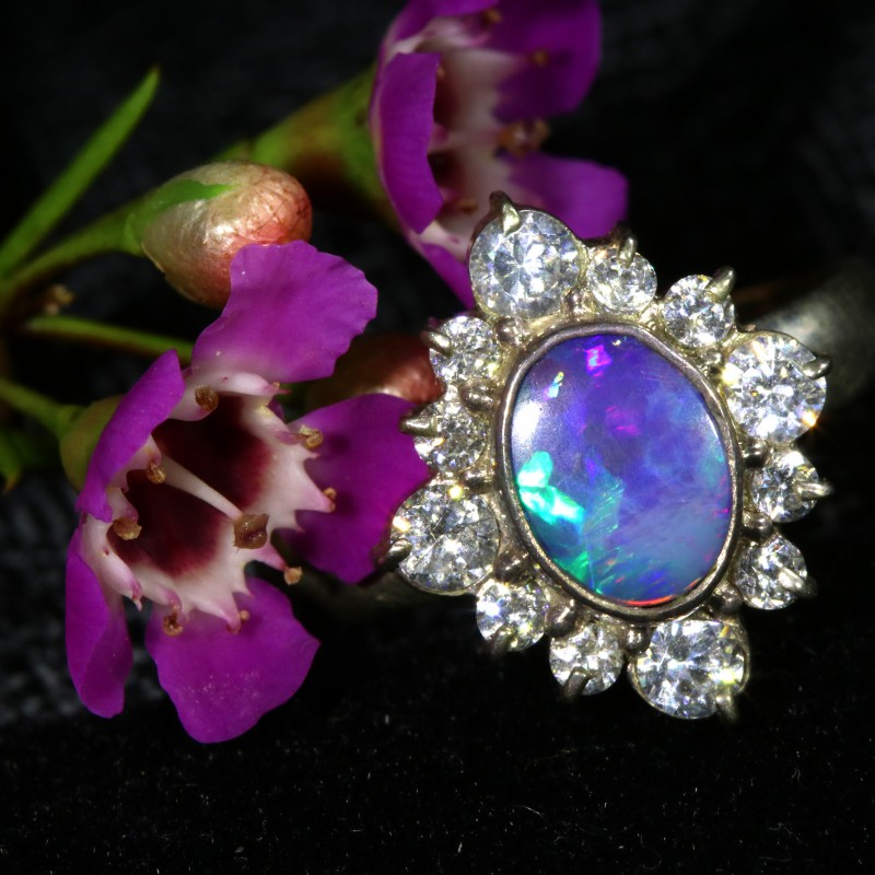 8 SIZE 19.75 CTS FIREY OPAL  DOUBLET RING SILVER WITH CUBIC ZICONIA[SOJ6425