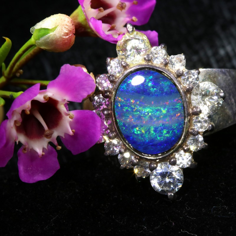7 SIZE  FIREY OPAL  DOUBLET RING SILVER WITH CUBIC ZICONIA[SOJ6428]