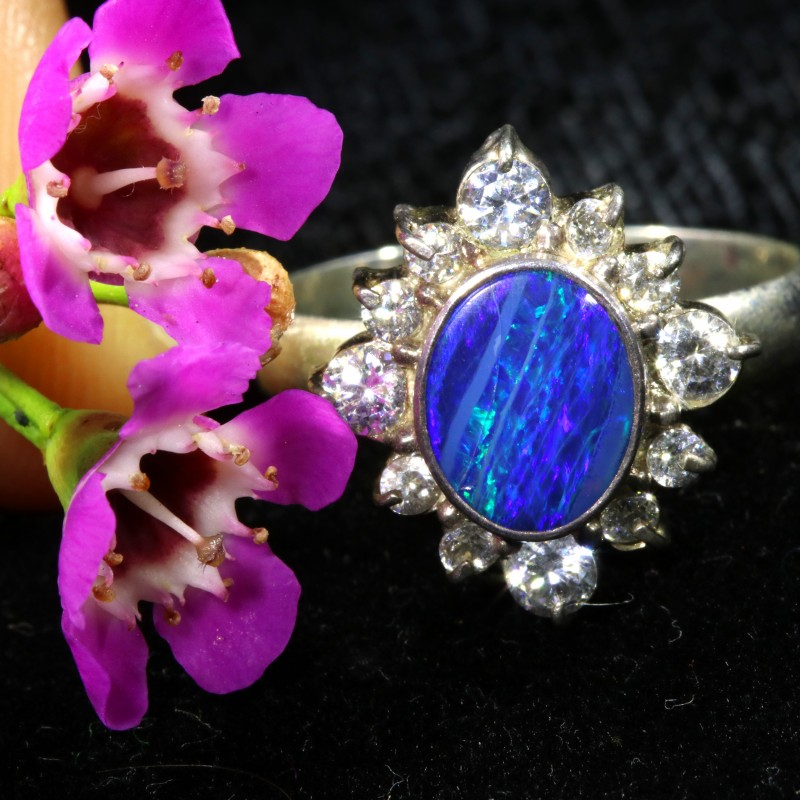 8 SIZE 20.95 CTS  FIREY OPAL  DOUBLET RING SILVER WITH CUBIC ZICONIA[SOJ643