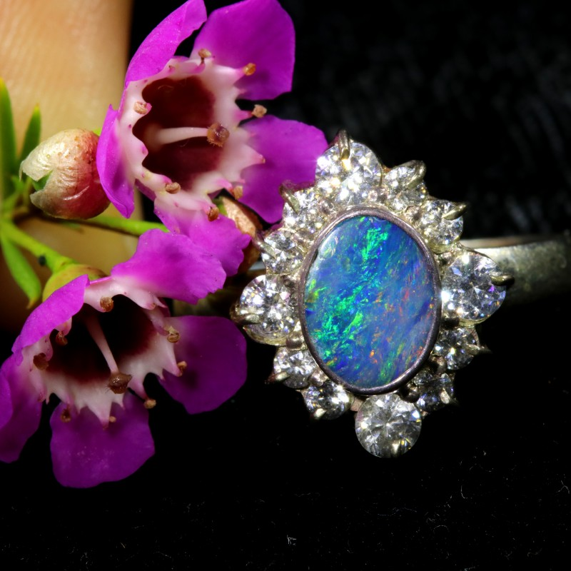 8 SIZE 17.45 CTS  FIREY OPAL  DOUBLET RING SILVER WITH CUBIC ZICONIA[SOJ643