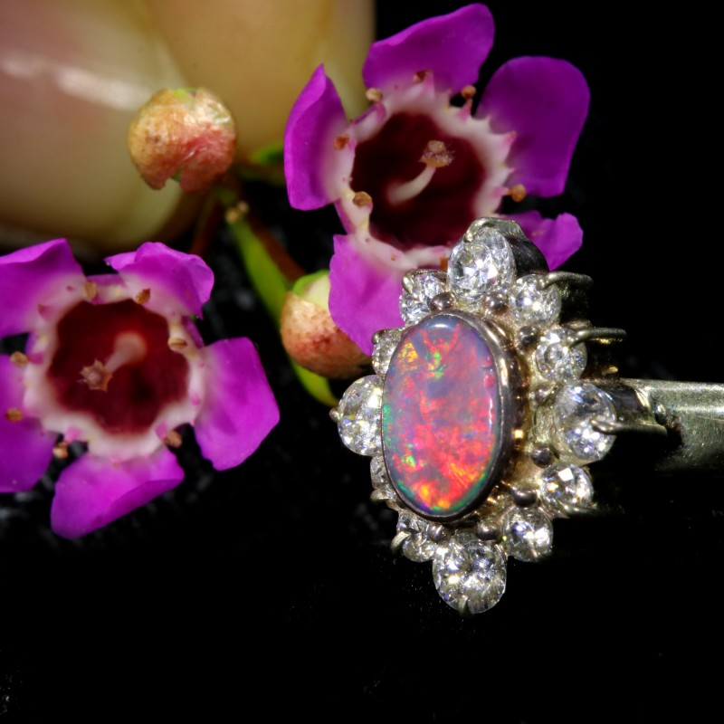 7 SIZE  FIREY OPAL  DOUBLET RING SILVER WITH CUBIC ZICONIA[SOJ6434]