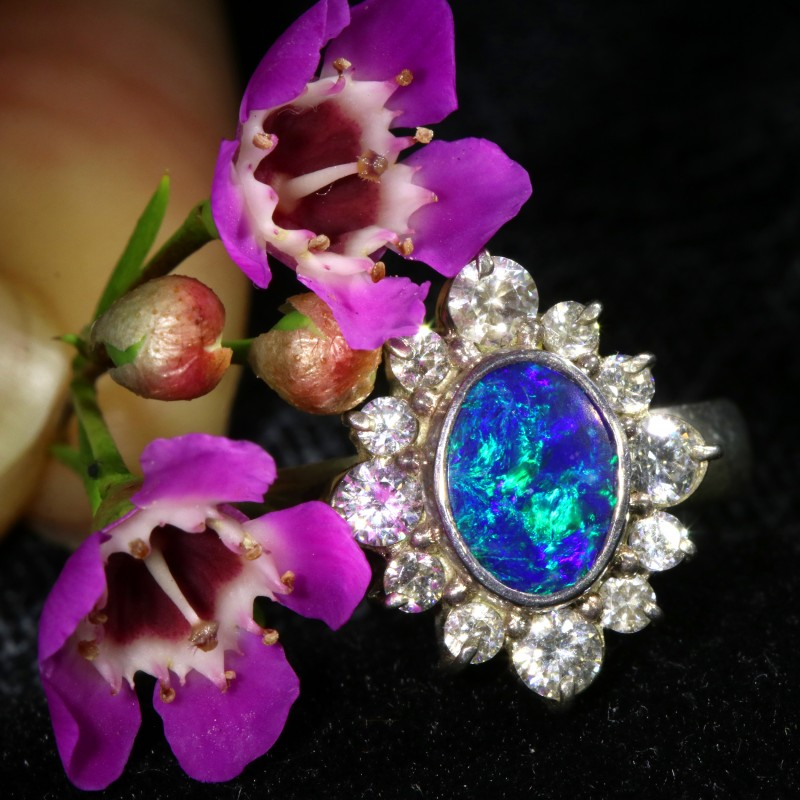 8 SIZE  FIREY OPAL  DOUBLET RING SILVER WITH CUBIC ZICONIA[SOJ6435]