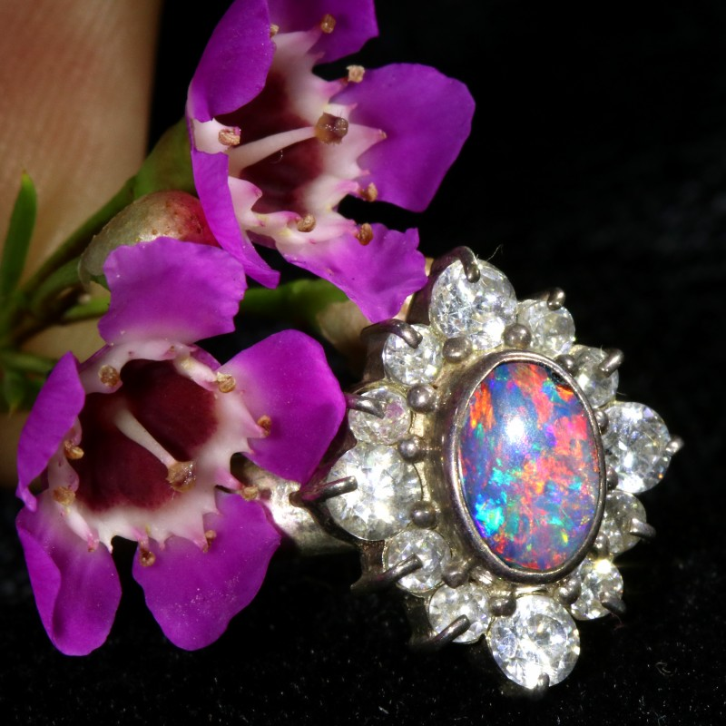 7 SIZE  FIREY OPAL  DOUBLET RING SILVER WITH CUBIC ZICONIA[SOJ6436]