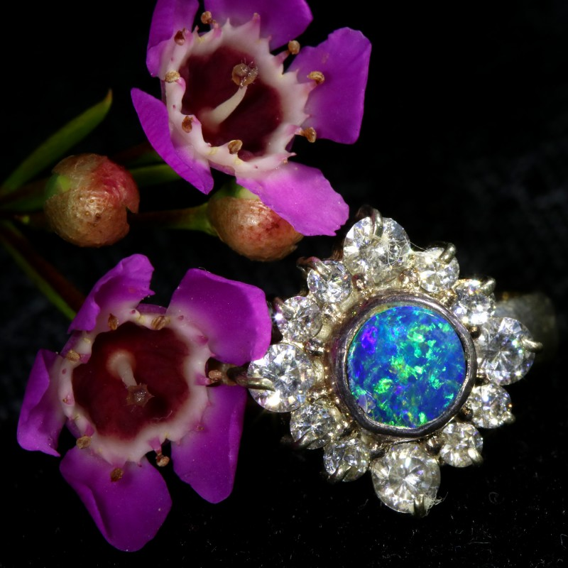 9 SIZE  FIREY OPAL  DOUBLET RING SILVER WITH CUBIC ZICONIA[SOJ6439]