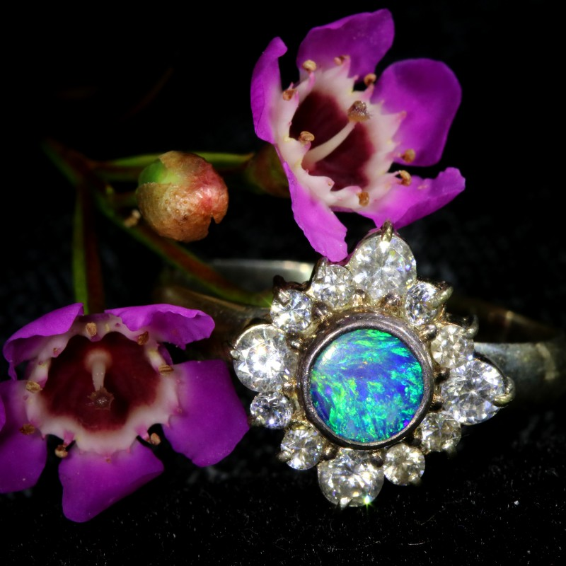 9 SIZE  FIREY OPAL  DOUBLET RING SILVER WITH CUBIC ZICONIA[SOJ6440]
