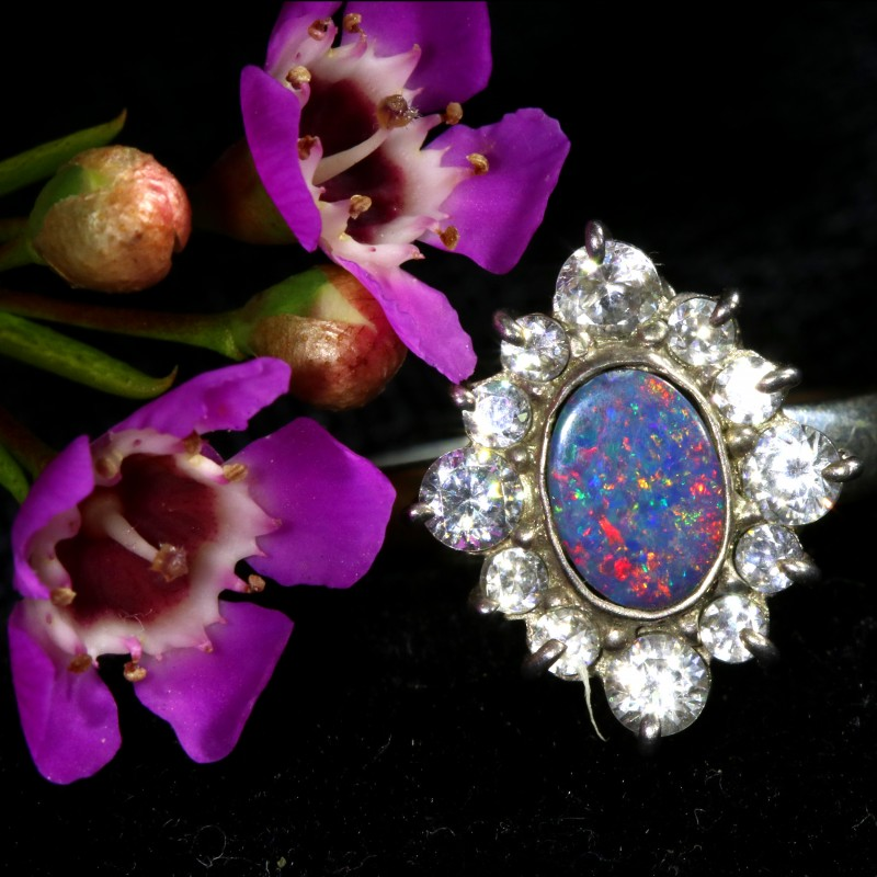 6.5 SIZE  FIREY OPAL  DOUBLET RING SILVER WITH CUBIC ZICONIA[SOJ6441]