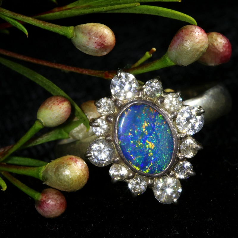 9 SIZE  FIREY OPAL  DOUBLET RING SILVER WITH CUBIC ZICONIA[SOJ6444]