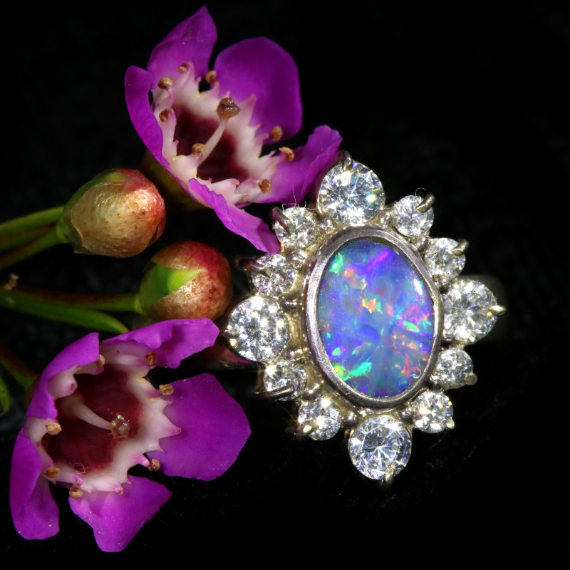7 SIZE  FIREY OPAL  DOUBLET RING SILVER WITH CUBIC ZICONIA[SOJ6447]