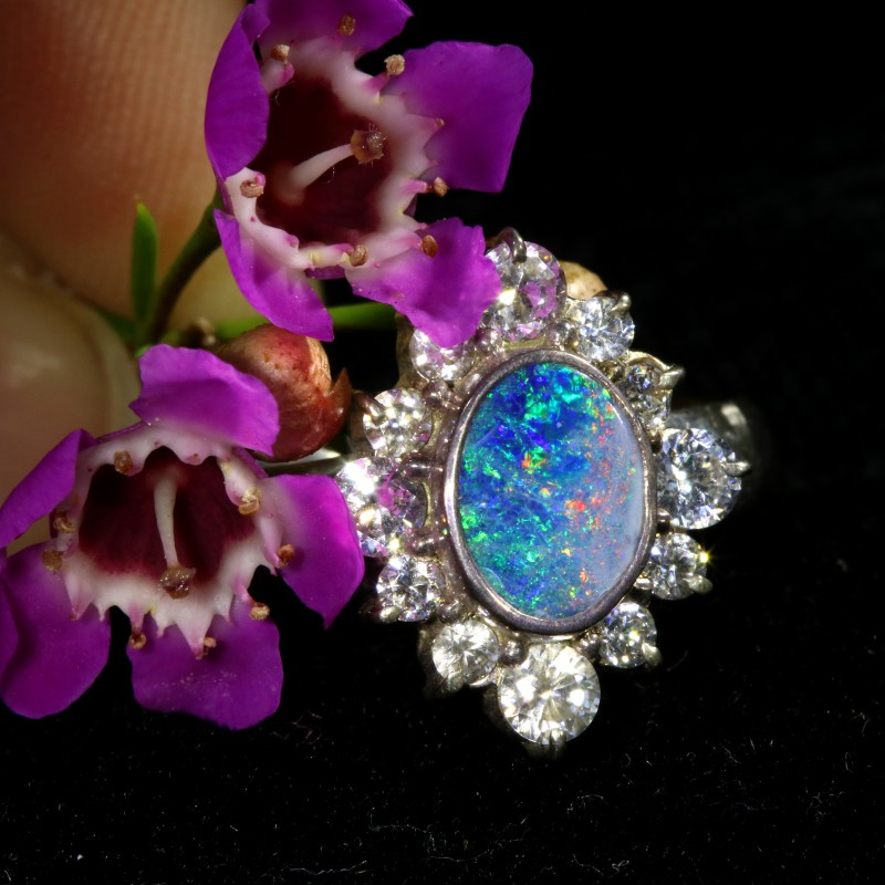 9 SIZE  FIREY OPAL  DOUBLET RING SILVER WITH CUBIC ZICONIA[SOJ6448]