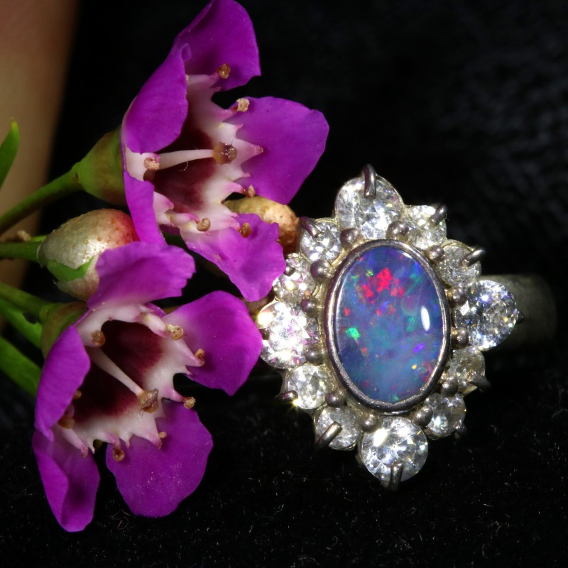 6.5 SIZE  FIREY OPAL  DOUBLET RING SILVER WITH CUBIC ZICONIA[SOJ6449]