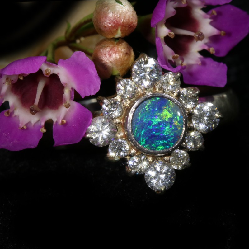 9 SIZE  FIREY OPAL  DOUBLET RING SILVER WITH CUBIC ZICONIA[SOJ6452]