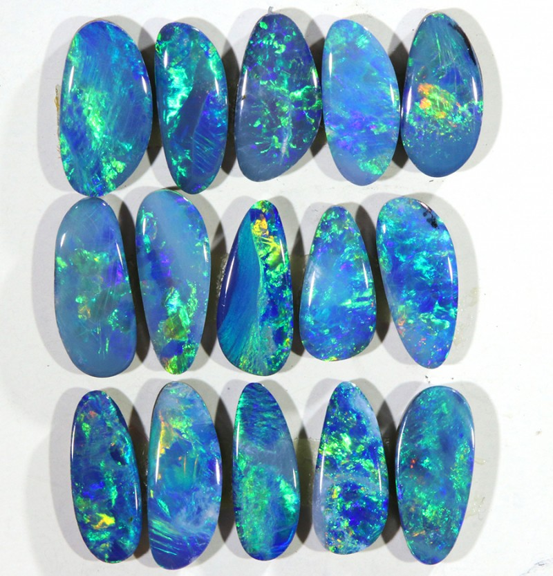 4.98CTS 15 PIECES CALIBRATED OPAL DOUBLET PARCEL GREAT COLOR PLAY -S496