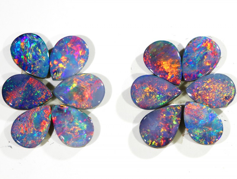 4.61CTS 12 PIECES CALIBRATED OPAL DOUBLET PARCEL GREAT COLOR PLAY -S502