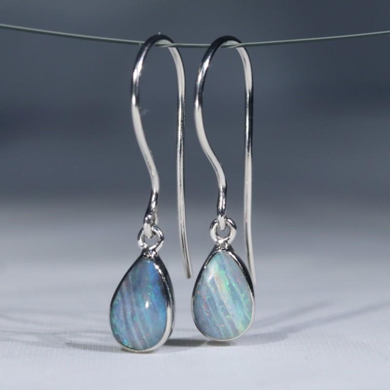 Australian Solid  Boulder Opal Silver Earrings