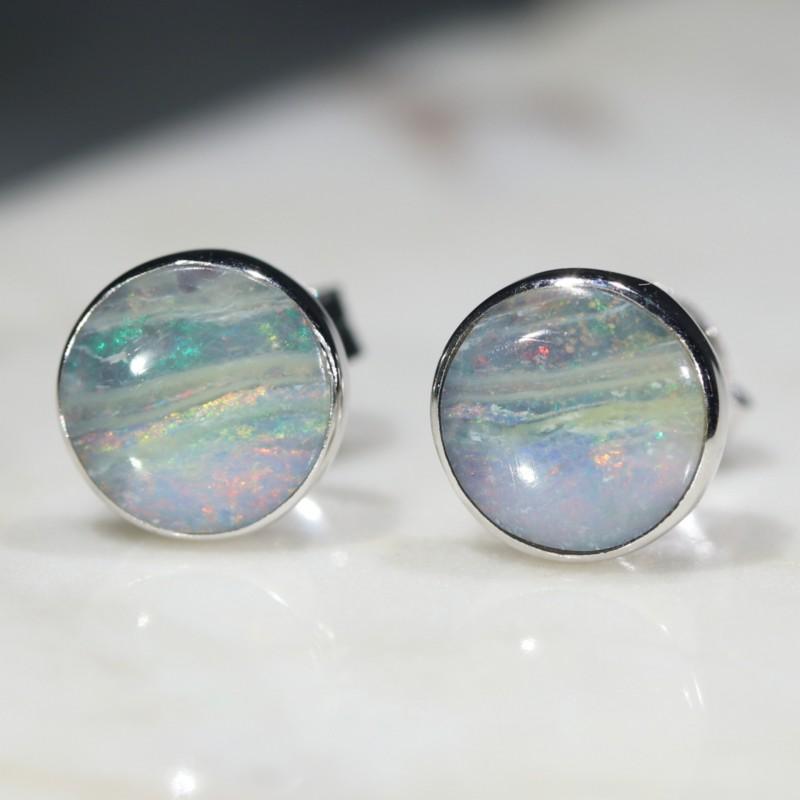 Australia  Solid Boulder Opal Silver Earring Studs