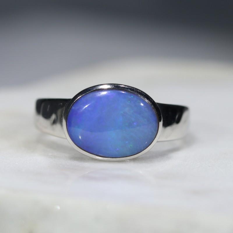 Australian  Solid Boulder Opal Silver Rings - Size 6.25