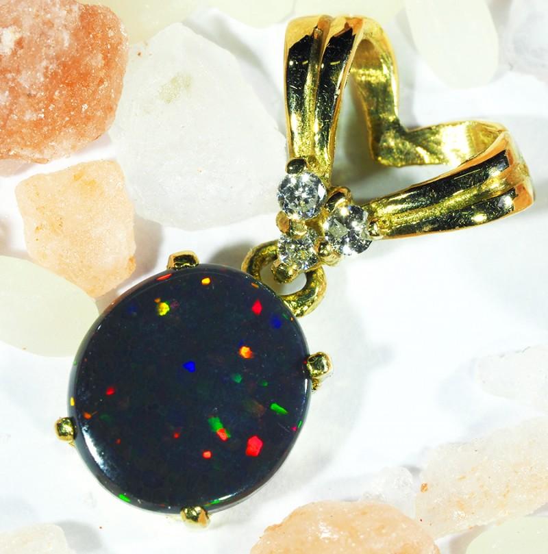 Multi Colour Fire Flash Solid Black Opal Pendant SCO62