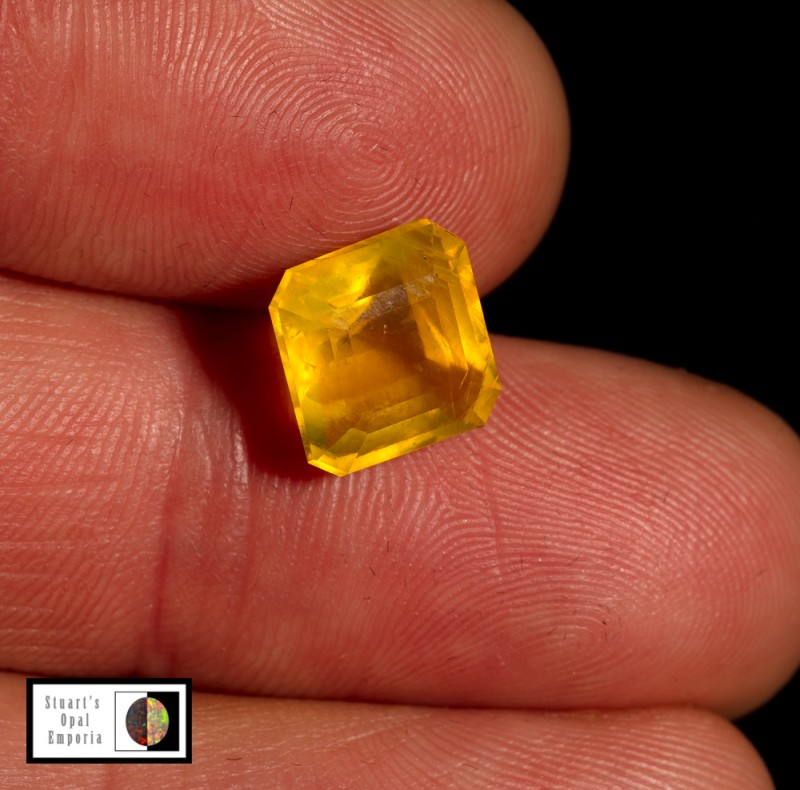3.65 carat Mexican yellow fire opal faceted 10x10mm