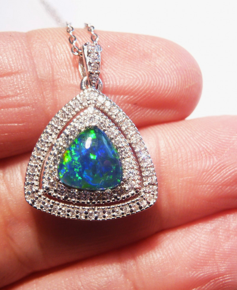 Natural Australian Triplet Opal, Cubic Zirconia and Sterling Silver Pendant