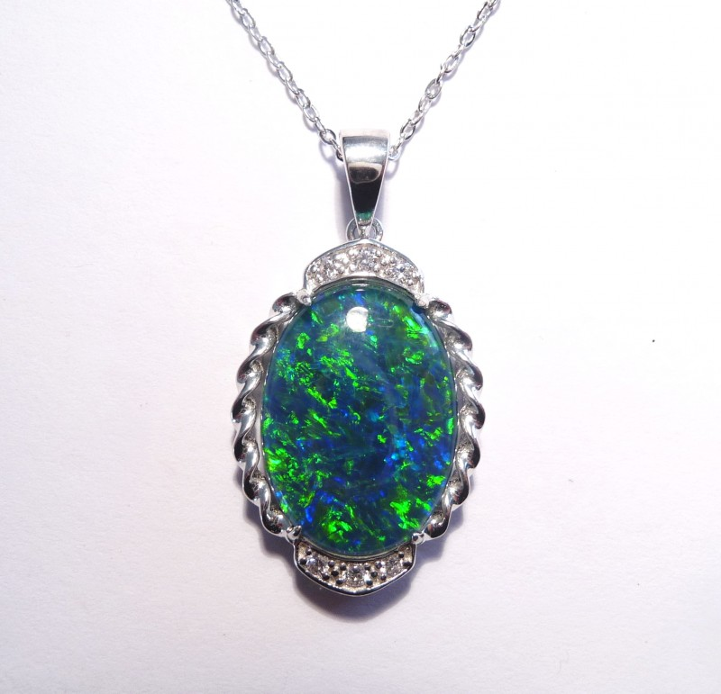 Australian Opal, CZ and Sterling Silver Pendant, 18""