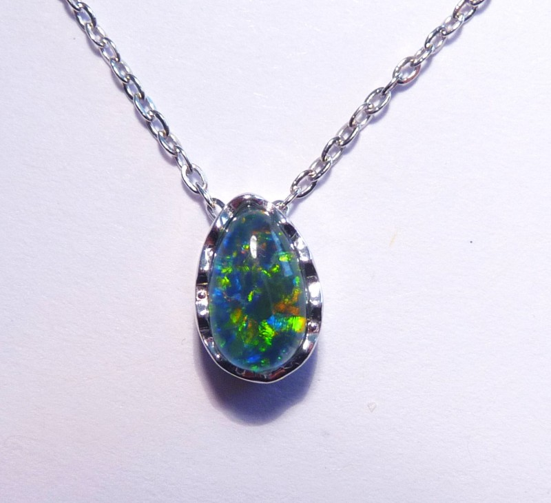 ON SALE was US$75 Pretty Australian Triplet Opal and Sterling Silver Slider