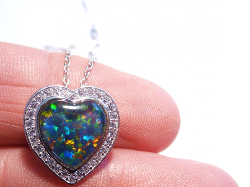 ON SALE was US$139 Pretty Australian Opal, CZ and Sterling Sil