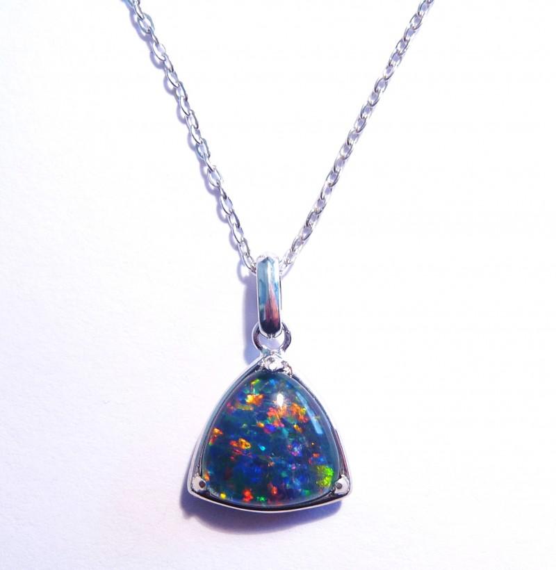 ON SALE was US$125 Bright Australian Triplet Opal and Sterling Silver Penda