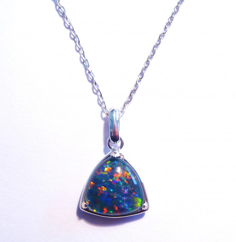 Bright Australian Triplet Opal and Sterling Silver Pendant